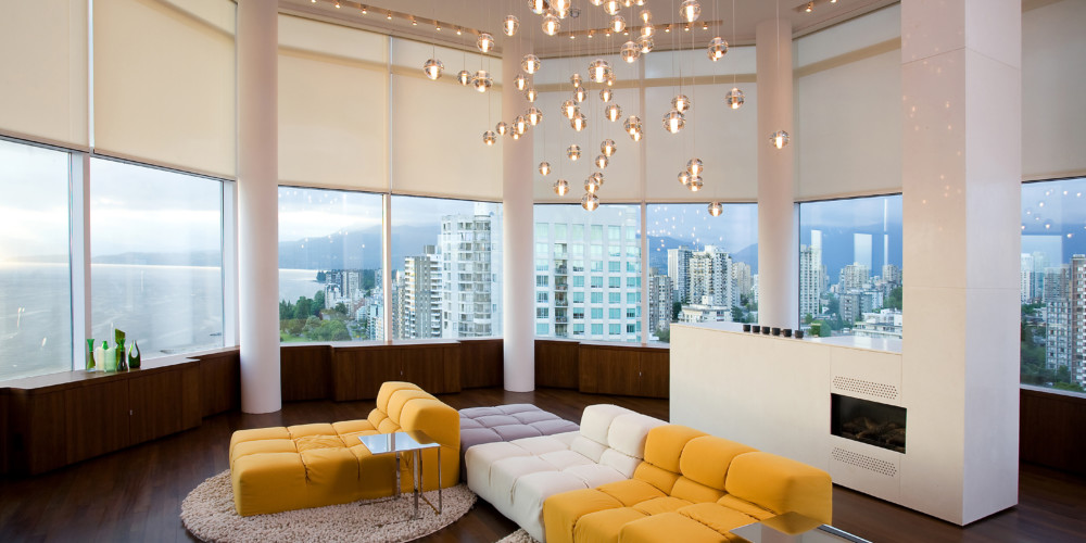 Lutron automated shades create custom ambiance.