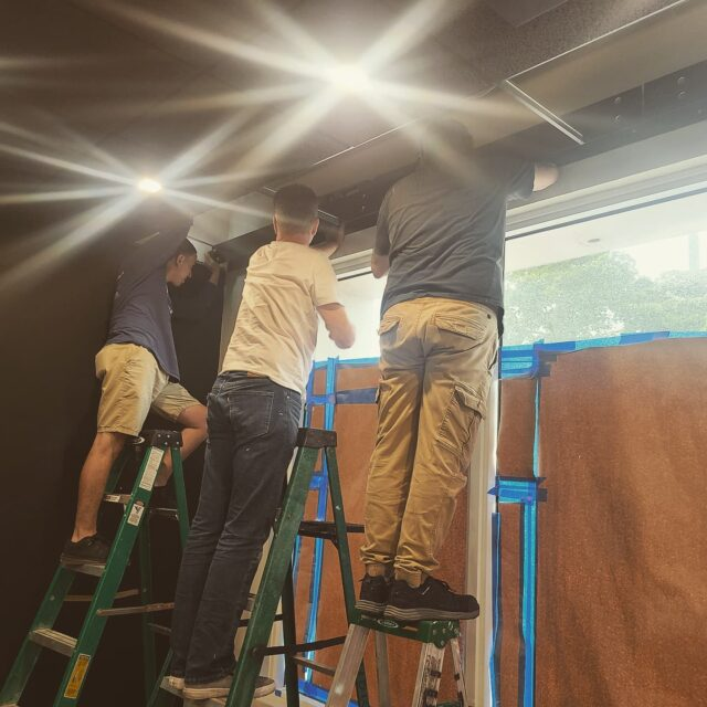 Lutron motorized shade pockets going in at the new showroom. #teamworkmakesthedreamwork